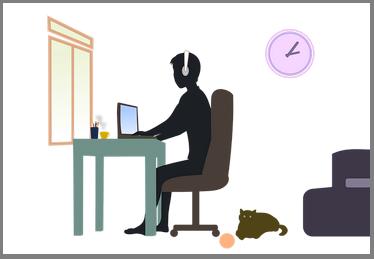 grafika przedstawia osobę siedzącą przed komputerem przy biurku