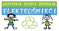"""dwie rysowane postacie obok symbolu recyklingu pod napisem """"Wszystkie dzieci zbierają elektrośmieci"""""""